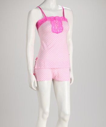 Pink & Fuchsia Mini Heart Shorts Pajama Set