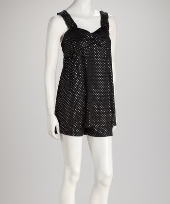 Black Sparkle Dot Babydoll Pajama Set