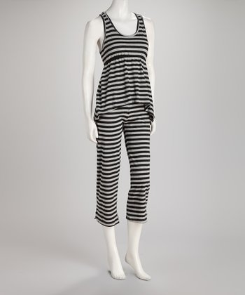 Black Stripe Hi-Low Pajama Set