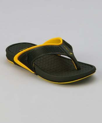Black & Yellow Rider Revolution Flip-Flop - Kids