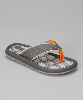 Gray & Orange Dunas IV Flip-Flop - Kids