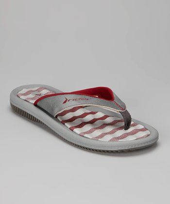Gray & Red Dunas IV Flip-Flop - Women