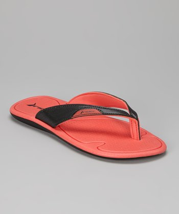 Black & Red Surf II Flip-Flop - Women