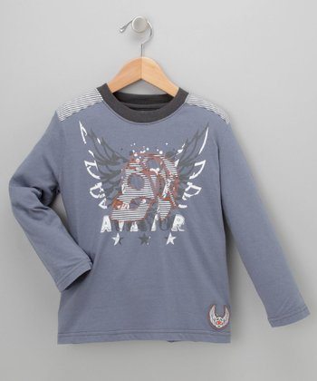 Slate Blue Skull Aviator Tee - Toddler & Boys
