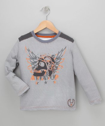 Striped Skull Aviator Tee - Toddler & Boys
