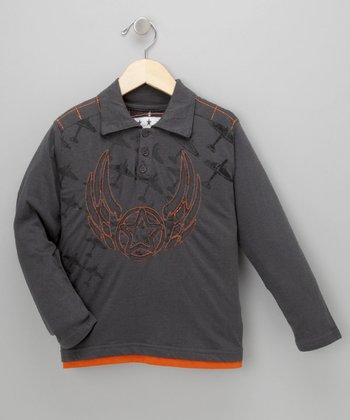 Charcoal Winged Log-Sleeve Polo - Toddler & Boys