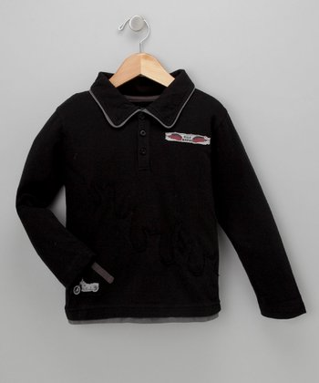 Black Motorcycle Long-Sleeve Polo - Toddler & Boys