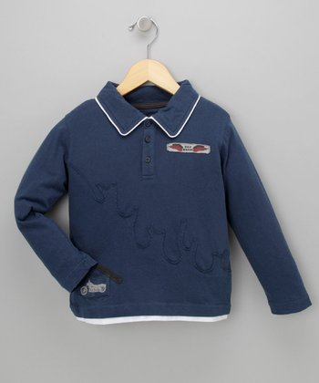 Blue Motorcycle Long-Sleeve Polo - Toddler & Boys