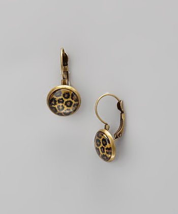 Brown Leopard Drop Earrings