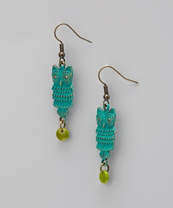 Teal Owl Drop Earrings