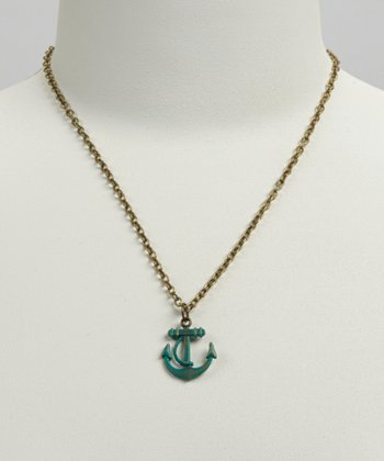 Teal Anchor Pendant Necklace
