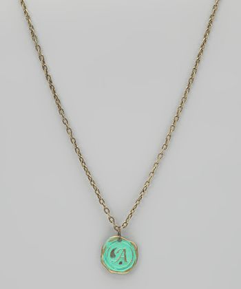 Brass Spearmint Stamped Antique Monogram Charm Necklace