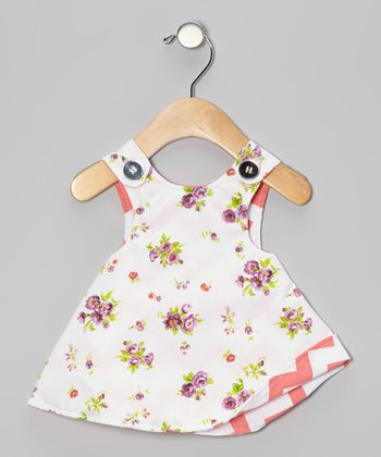 White Floral Reversible Jumper - Toddler & Girls
