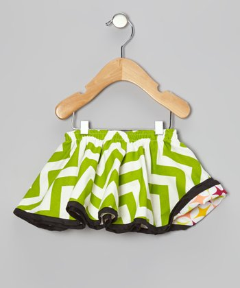 Magenta & Lime Green Reversible Swing Skirt - Infant