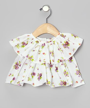 White Floral Tiered Peasant Top - Infant, Toddler & Girls