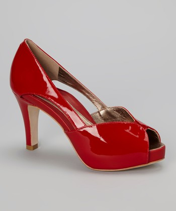 Red Lake Peep-Toe Pump