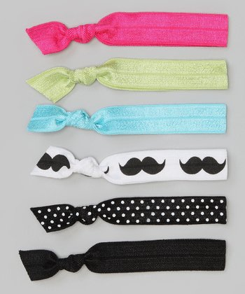 Black & Pink Mustache Hair Tie Set