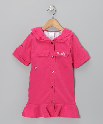 Hot Pink Sun Protection Button-Up - Toddler