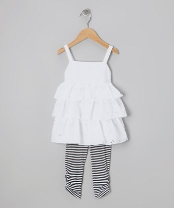 White Eyelet Ruffle Tunic & Black Leggings - Toddler