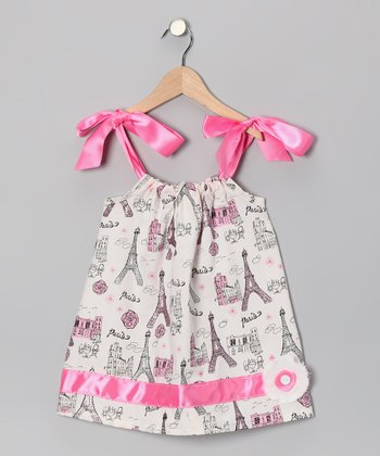 White & Pink Paris Swing Dress - Infant, Toddler & Girls