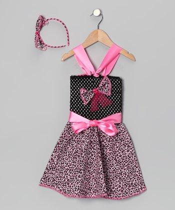 Pink & Black Cheetah Crochet Dress & Headband - Toddler & Girls