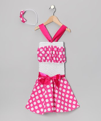 Pink Polka Dot Crochet Dress & Headband - Toddler & Girls