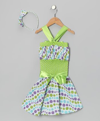 Green Polka Dot Crochet Dress & Headband - Toddler & Girls