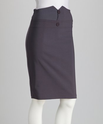 Charcoal Button Pencil Skirt