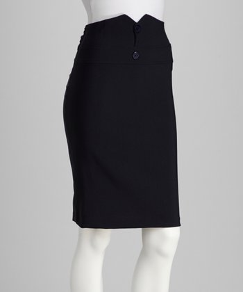 Navy Button Pencil Skirt
