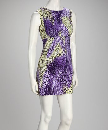 Violet & Yellow Snakeskin Empire-Waist Dress