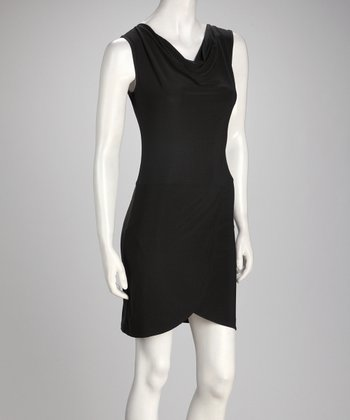 Black Drape Neck Dress
