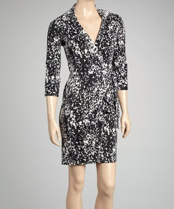 Black & White Leopard Wrap Dress
