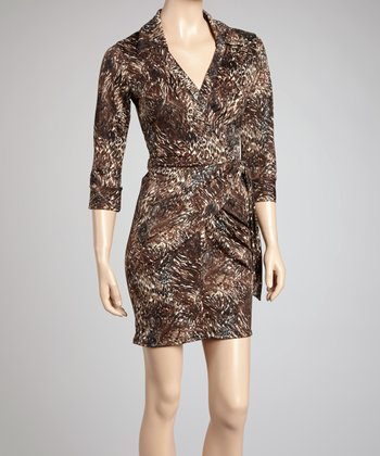 Brown Leopard Paisley Wrap Dress