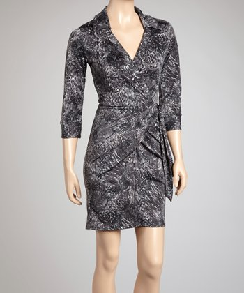 Gray Leopard Paisley Wrap Dress