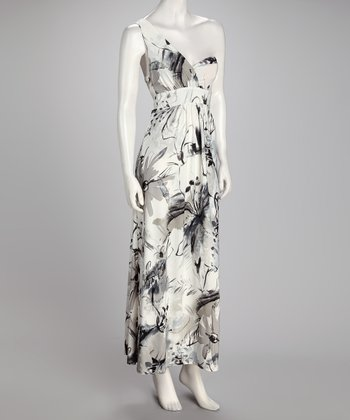 Gray & White Watercolor Asymmetrical Maxi Dress