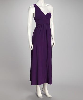 Purple Asymmetrical Maxi Dress