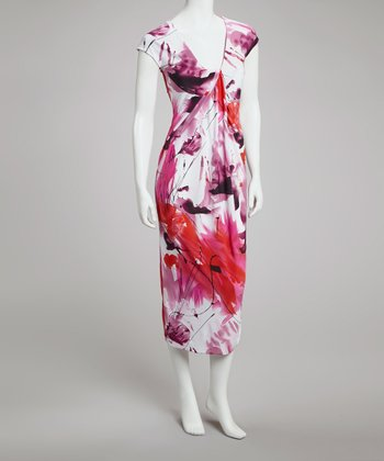 Fuchsia & Red Abstract Cap-Sleeve Dress - Women