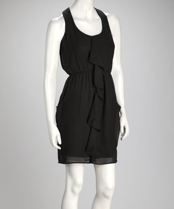 Black Ruffle Sleeveless Dress