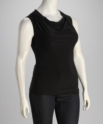 Black Plus-Size Drape Top