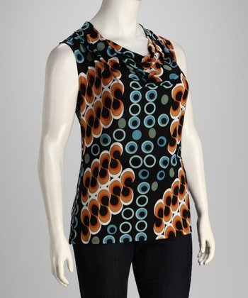 Orange Circles Plus-Size Drape Top