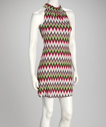 Lime & Fuchsia Zigzag Dress