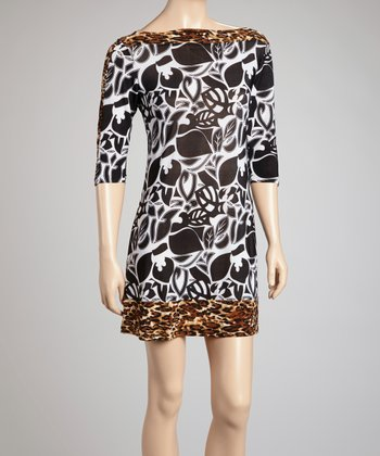 White & Black Leopard Boatneck Dress