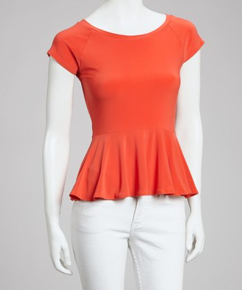 Orange Cap-Sleeve Peplum Top - Women