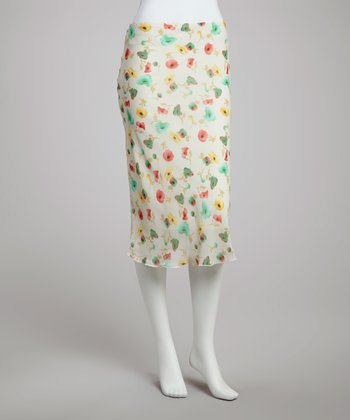 Ivory & Yellow Floral Skirt - Women