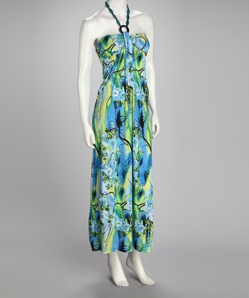 Blue & Green Floral Maxi Dress