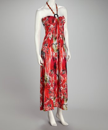 Red & Orange Floral Maxi Dress