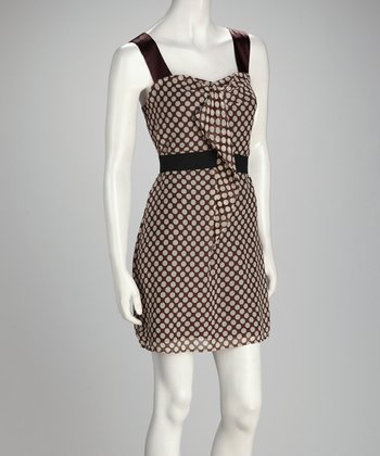 Brown & Beige Polka Dot Sleeveless Dress
