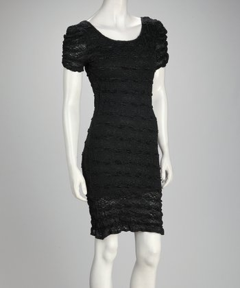 Black Lace Scrunch Dress