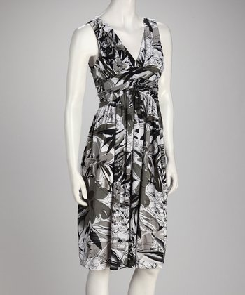 Gray & Black Floral Empire-Waist Dress