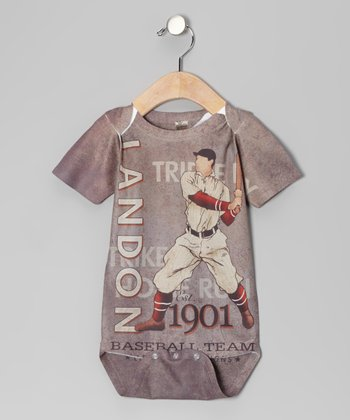 Gray Baseball Personalized Bodysuit - Infant